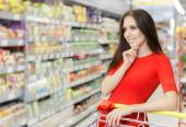 Happy Woman Shopping  at The Supermarket — Stock Photo