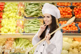 Happy Lady Chef with Big Spoon Making Healthy Menu Decisions — Stock Photo