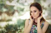 Stylish Woman Wearing Floral Dress and Big Necklace — Stock Photo