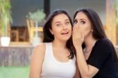 Two Best Friend Girls Whispering a Secret — Stock Photo