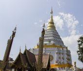 Golden and white asian pagoda — Stock Photo