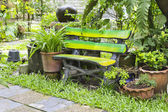 Wood chair in the garden — Stock Photo
