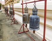 Row of bell in asian temple — Stok fotoğraf