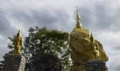 Angel statue worshiping buddha pagoda — Stock Photo