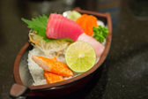 The sushi set composing of tuna, salmon , imitating crab stick  — Stock Photo