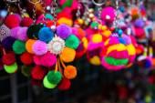 Colorful handmade souvenir key chain — Stock Photo