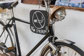 No smoking sign on the black bicycle — Stock Photo