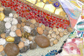 The colorful broken tile, bead and stone decorating on temple wa — Stock Photo