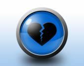 Broken heart icon. Circular glossy button. — Stock fotografie