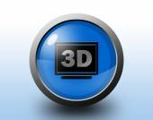 Three D display icon. Circular glossy button. — Stock Photo