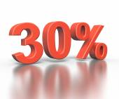 Three dimentional rendering of thirty percent symbol — Stock Photo
