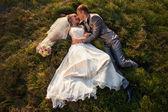 Lucky bride and bridegroom — Stock Photo