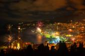 Night view and firework at Yalta city — Stock Photo
