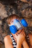 Girl and Respirator — Stock Photo