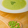 Green pea soup in bowl — Stock Photo #58422021