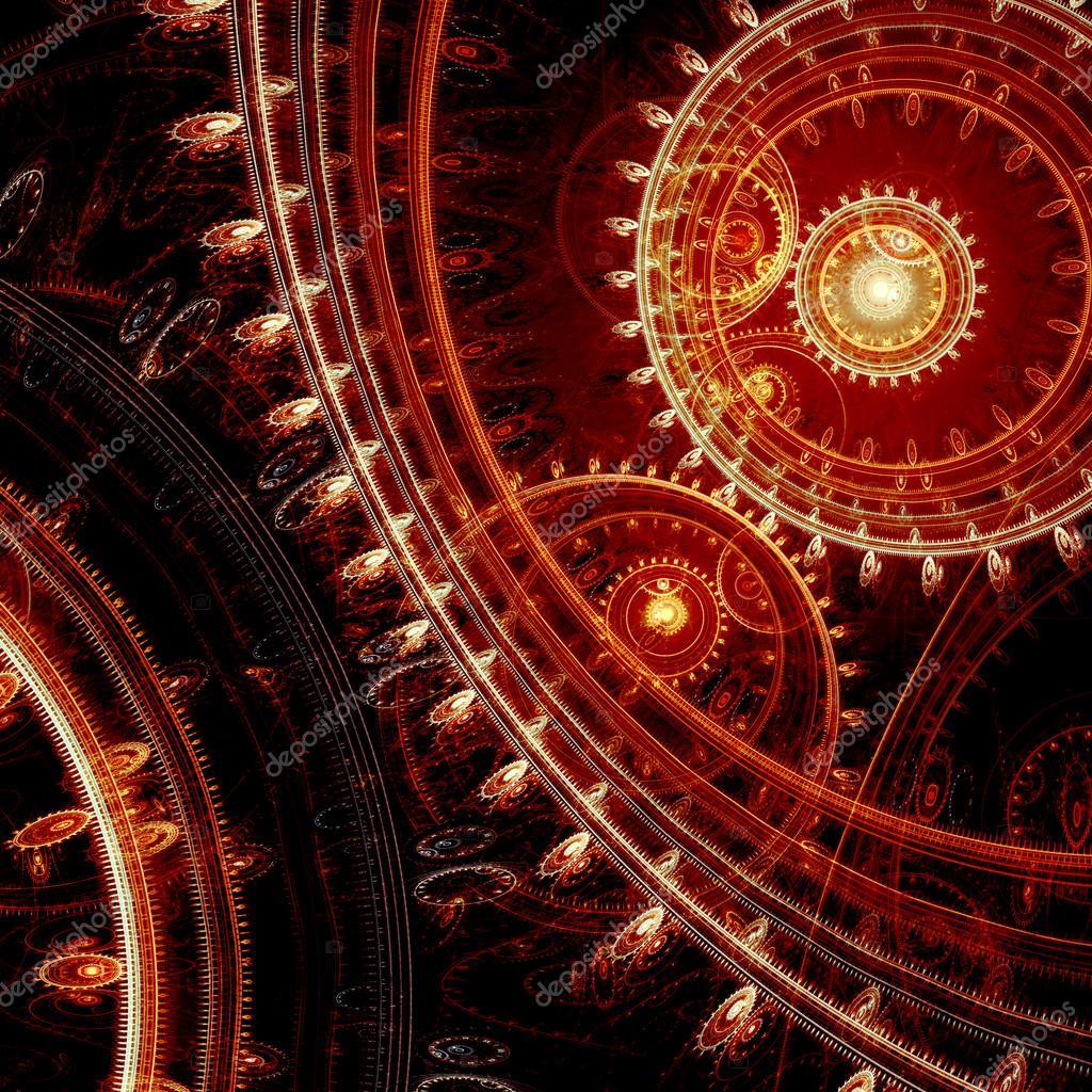 暗红色的抽象形蒸汽朋克背景– 图库图片