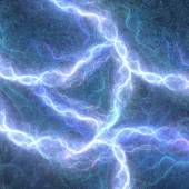 Blue electric lightning - abstract electrical background — Stock Photo