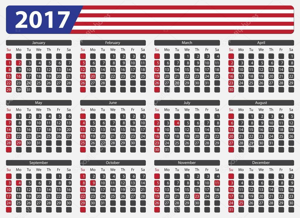 Descargar - Calendario de Estados Unidos 2017 - días festivos ...