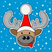 Christmas reindeer - blue background with snow — Stock Vector