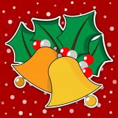 Two golden Christmas bells with leaves — Stok Vektör