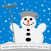 Snowman with a broom and a pot on his head — Stok Vektör