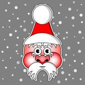 Santa Claus with ski cap and red cheeks — Stok Vektör