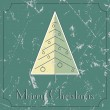 Retro-vintage Christmas tree beige and green card — Vetor de Stock  #59186209