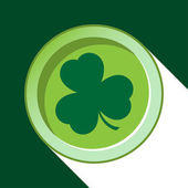 Vector button with dark green shamrock — Stock Vector