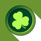 Vector button with light green shamrock — Stock Vector