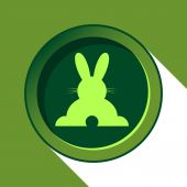 Button with light green back Easter bunny and shadow — Stock Vector