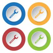 Set of four icons with spanner — Stock Vector