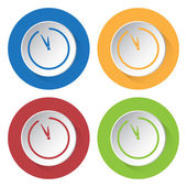 Set of four icons with clock — Vector de stock