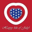 4th of july card with heart and contours — Stock Vector #73135161