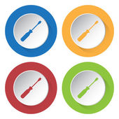 Set of four icons with screwdriver — Stock Vector