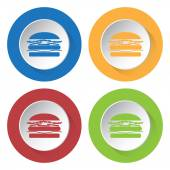 Set of four icons with hamburger — Stock Vector