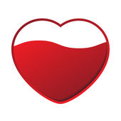 Red heart with wave — Stock Vector