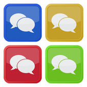 Four square icons with speech bubbles — Stock Vector