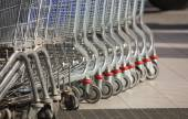 Row of shopping carts. — Stock Photo