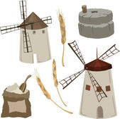 Vector illustration of flour mills — Stock Vector