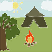 Vector illustration Forest Camping — Vettoriale Stock