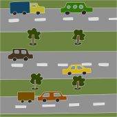 Vector illustration of roads and vehicles — ストックベクタ