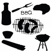 Vector silhouette elements barbecue — Stock Vector