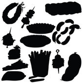Vector silhouette of various foods — Stock Vector