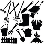 Vector silhouette of garden supplies — Stock Vector