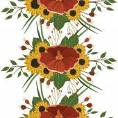 Vector pattern with different flowers — Stock Vector