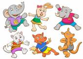 Cute cartoon happy animal set. — Stock Photo