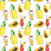 Seamless pattern with fruits and coctails — Stock Photo