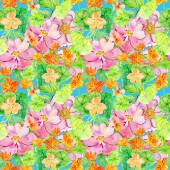 Pattern from nasturtium and roses — Stock Photo