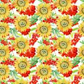 Seamless watercolour sunflowers pattern — Stock Photo
