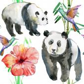 Flowers, birds and panda bears — Stock Photo